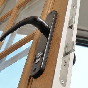 Composite door handle and lock close up