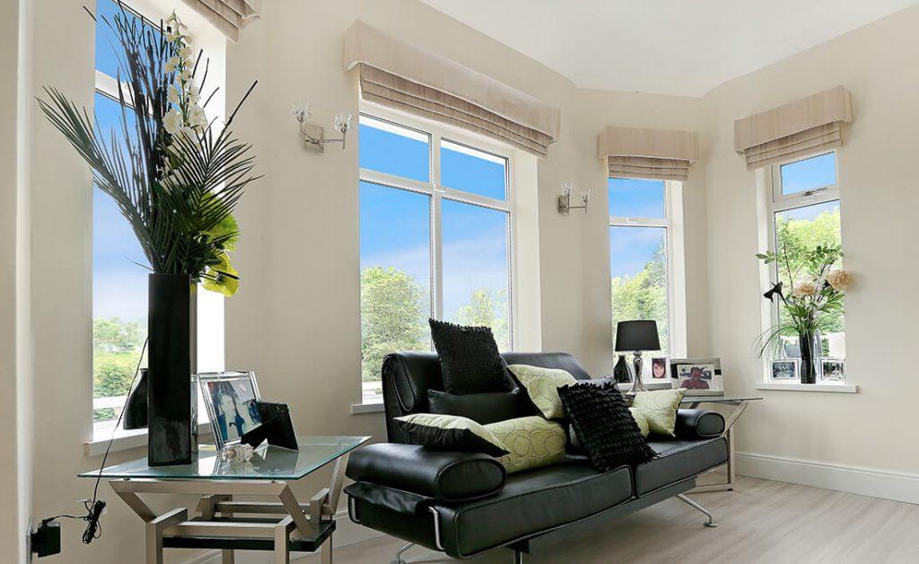 White triple glazed windows installation