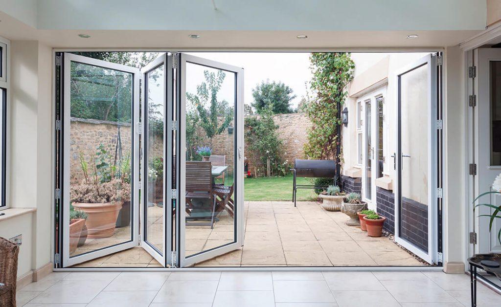 White aluminium bifold door interior view