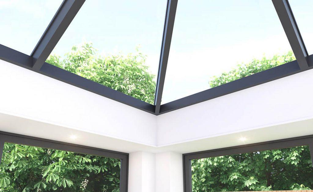 Close up of aluminium skyroom roof