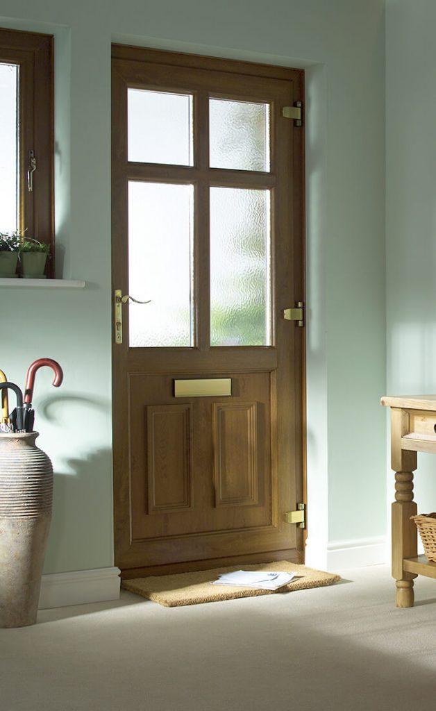 Golden oak effect front door interior view