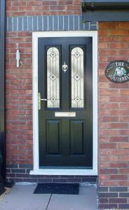 Black composite entrance door