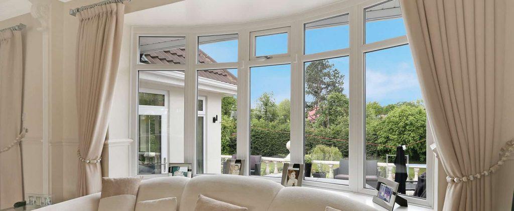 Triple glazed bow window interior view