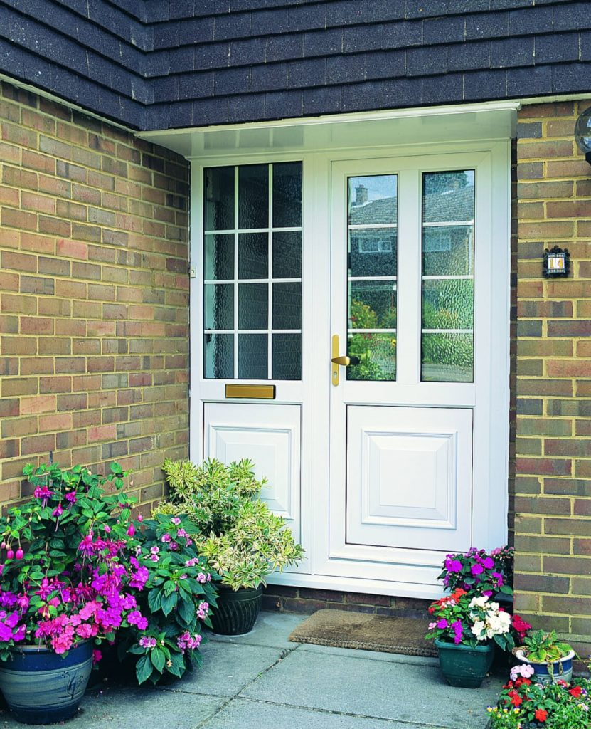White uPVC door with side panel letterbox